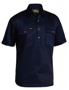 CLOSED FRONT COTTON DRILL SHIRT S/S BY BISLEY