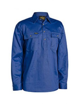 CLOSED FRONT COTTON DRILL SHIRT L/S BY BISLEY